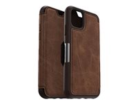 OtterBox Strada Series - Flip cover for mobile phone - leather, polycarbonate - espresso brown - for Apple iPhone 11 77-62831